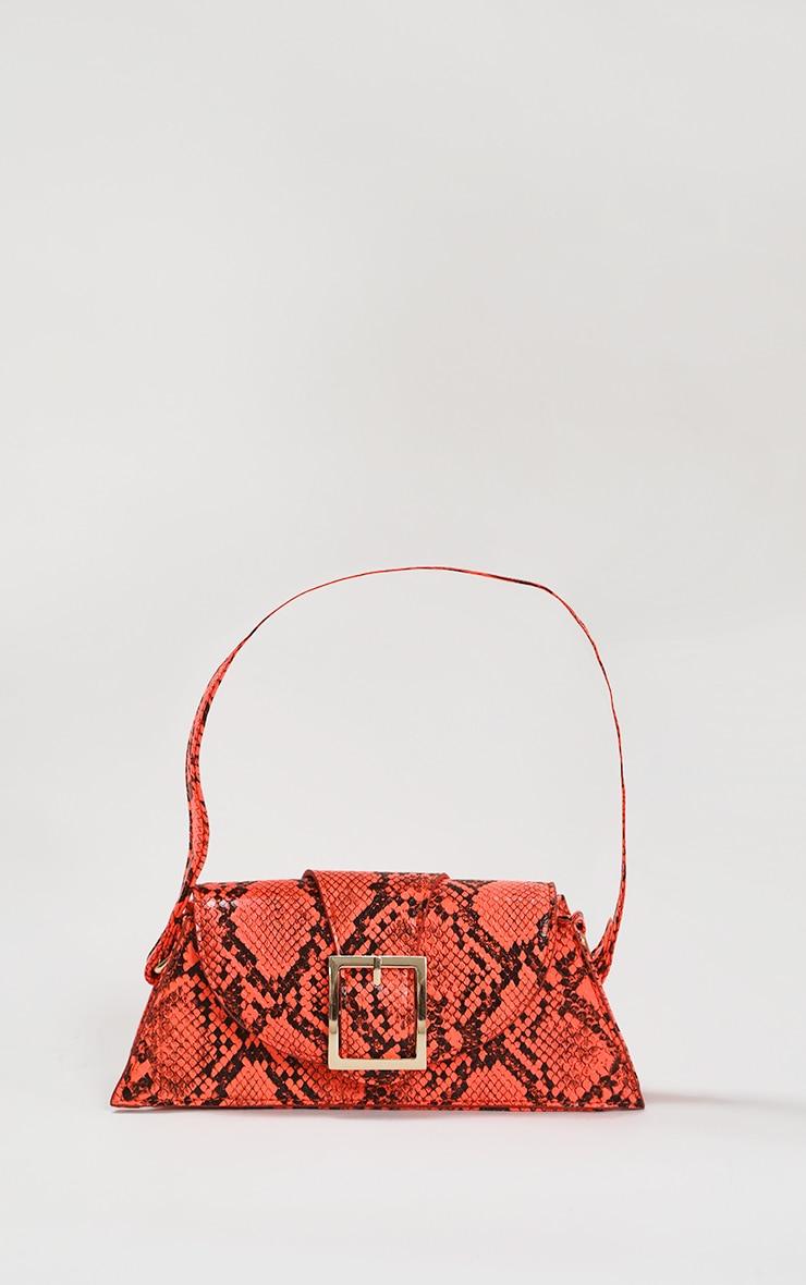 Orange Snake Baguette Bag 1