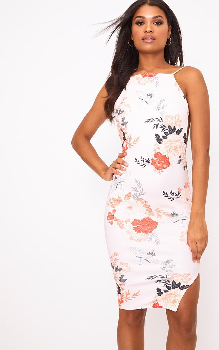 Pink Floral Print Strappy Low back Midi Dress 2