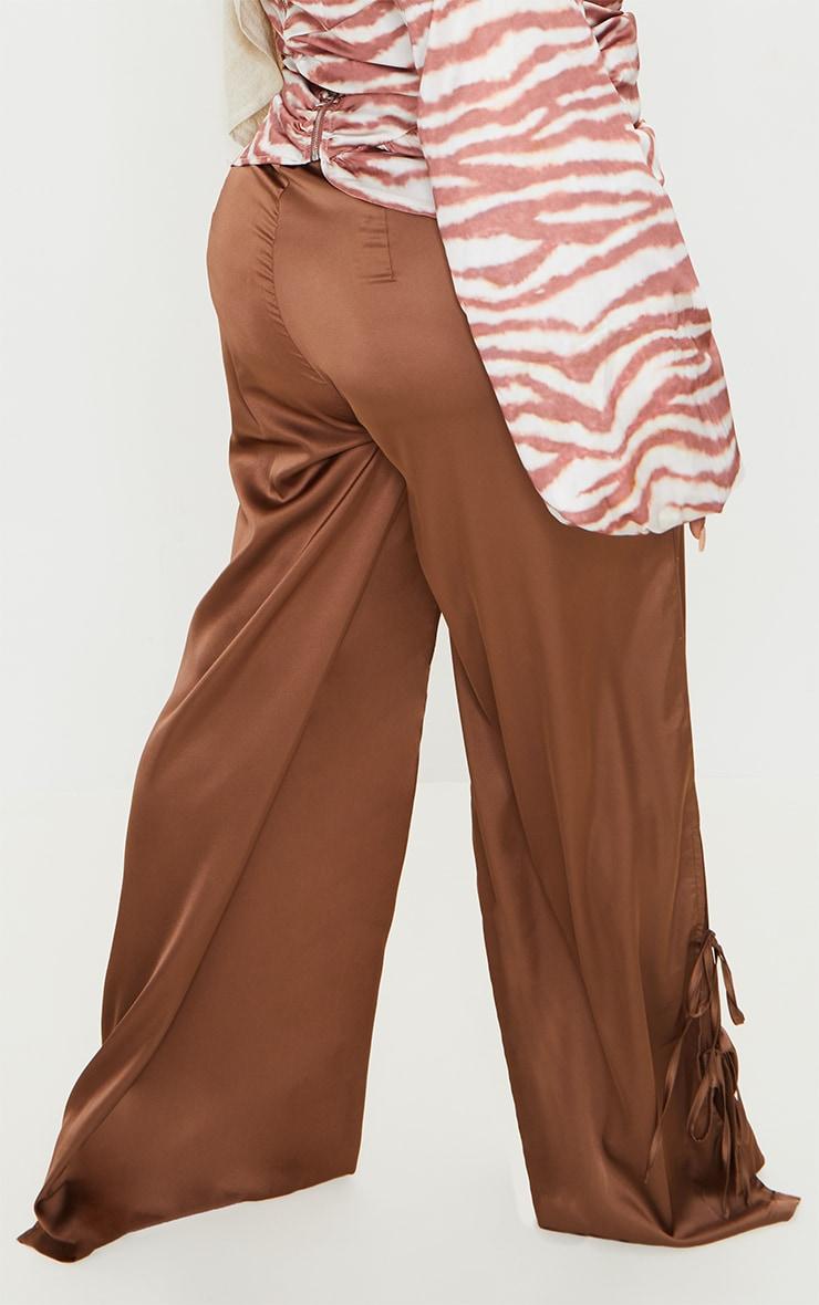 Plus Chocolate Satin Wide Leg Tie Pants 3