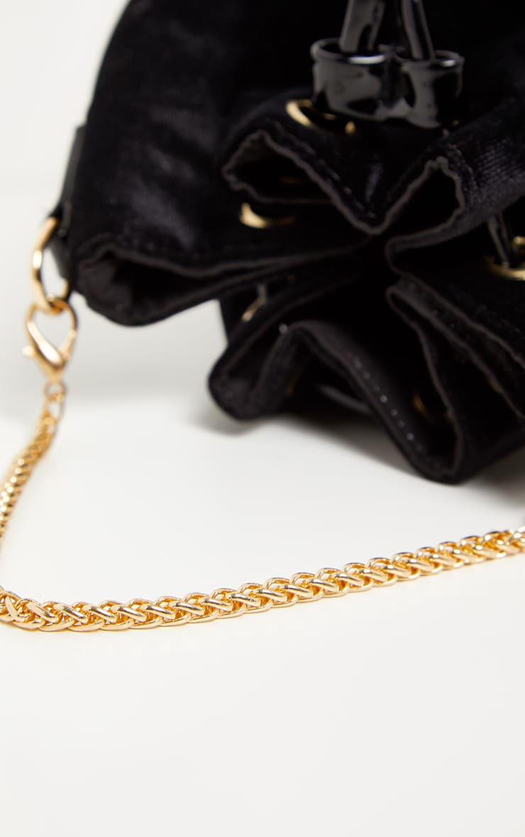 Black Crushed Velvet Mini Duffle Bag 3