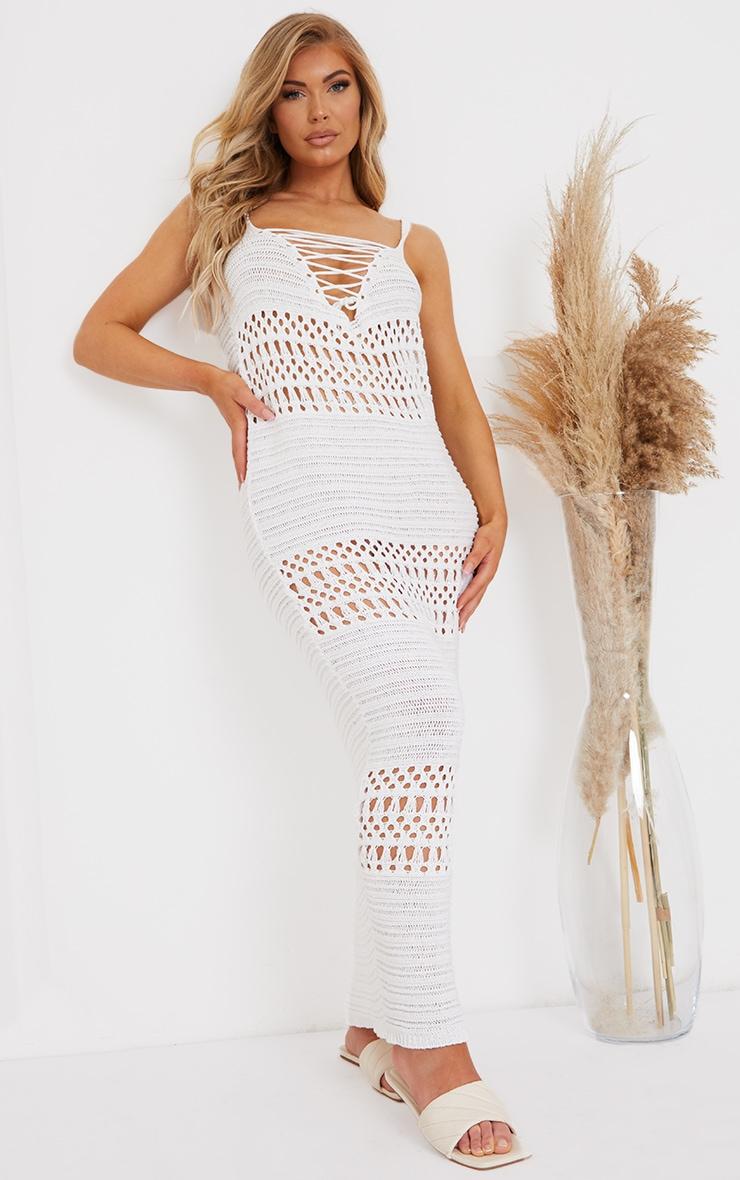 Cream Crochet Lace Up Midaxi Dress 1