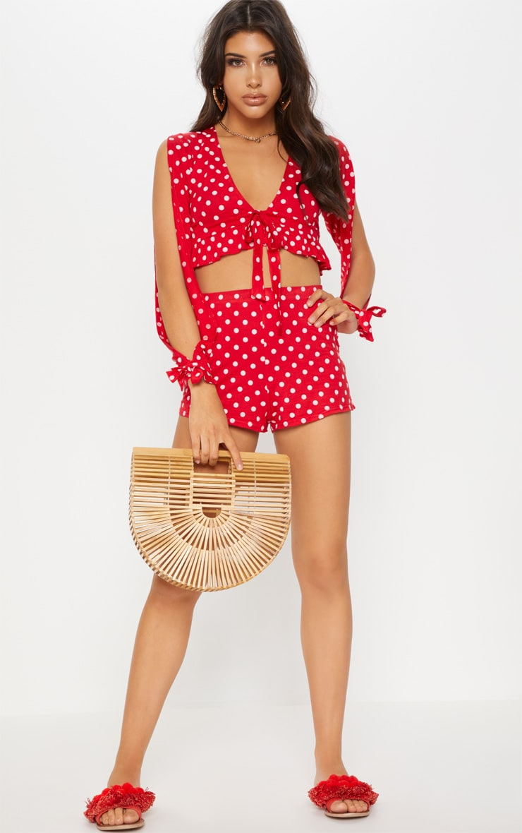 Red Polkadot Jersey Flared Sleeve Tie Crop Top 1