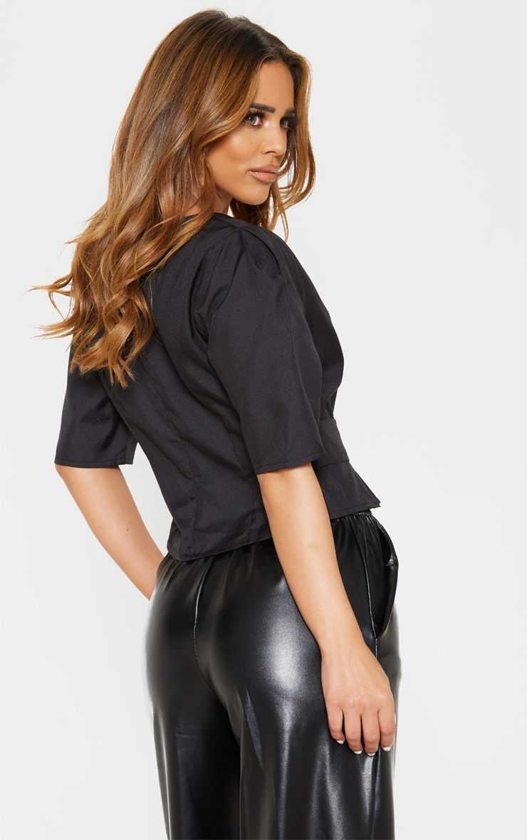 Petite Black V Neck Belt Detail Blouse 2