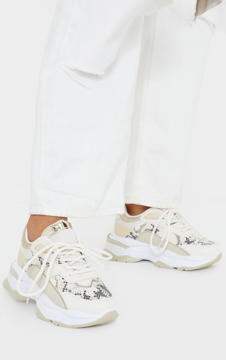 Natural Snake Contrast Chunky Sneakers 1