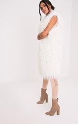 35ca692c0e759e Brogen gilet long blanc en fausse fourrure - Manteaux et vestes ...