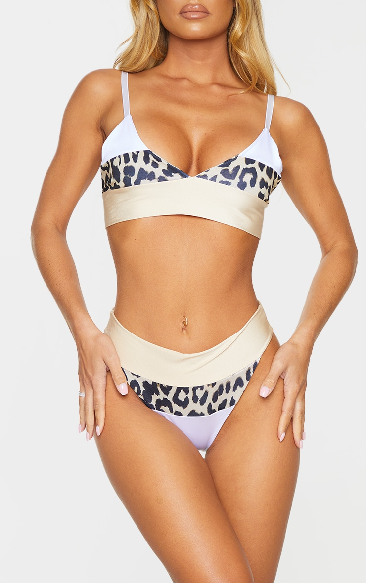 Nude & Leopard Three Toned Bikini Bottom 1