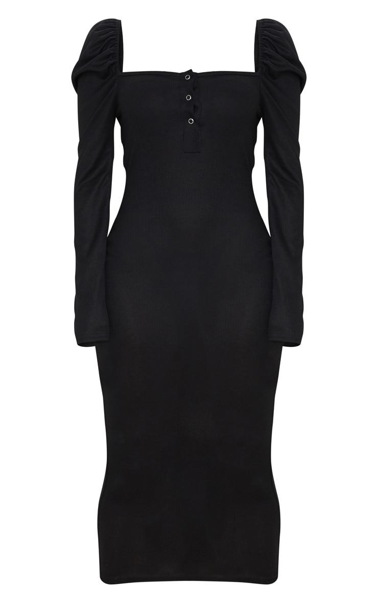 Black Rib Puff Sleeve Popper Front Midi Dress 5