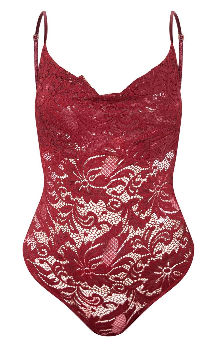 Burgundy Lace Cowl Neck Bodysuit  3