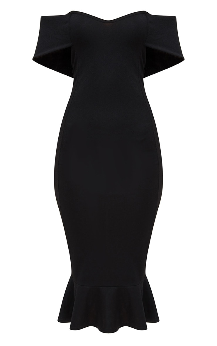 Black Bardot Frill Hem Midi Dress 3