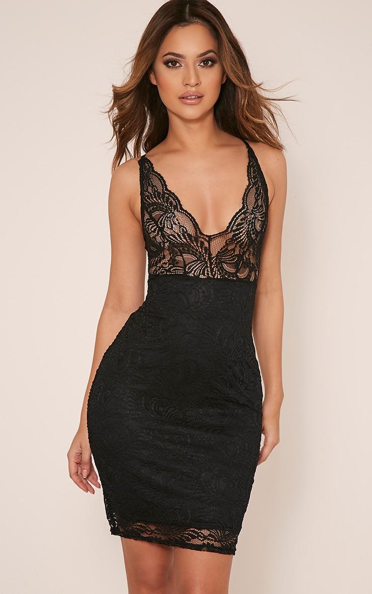 Lucila Black Sheer Lace Bodycon Dress 1