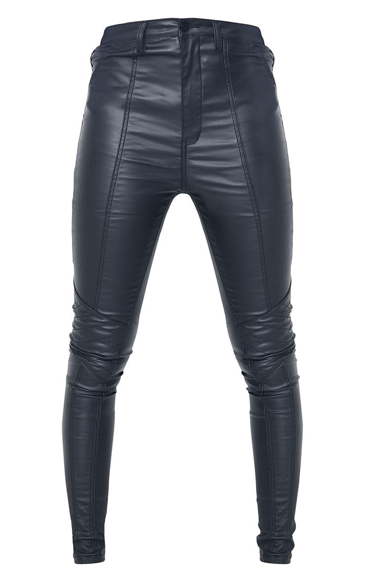 Tall Black Biker Coated Skinny Jeans 5