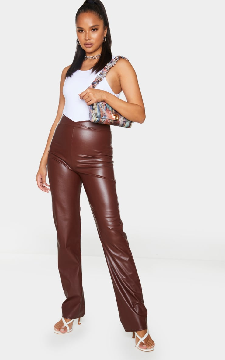 Chocolate Dip Waist Straight Leg Faux Leather Pants 1