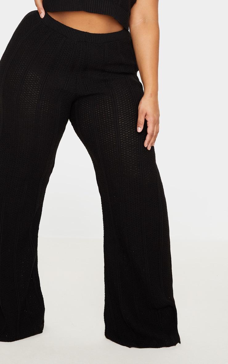 Plus Black Knit Wide Leg Pants 4