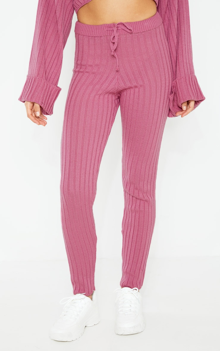 Pink Knitted Ribbed Trouser 2