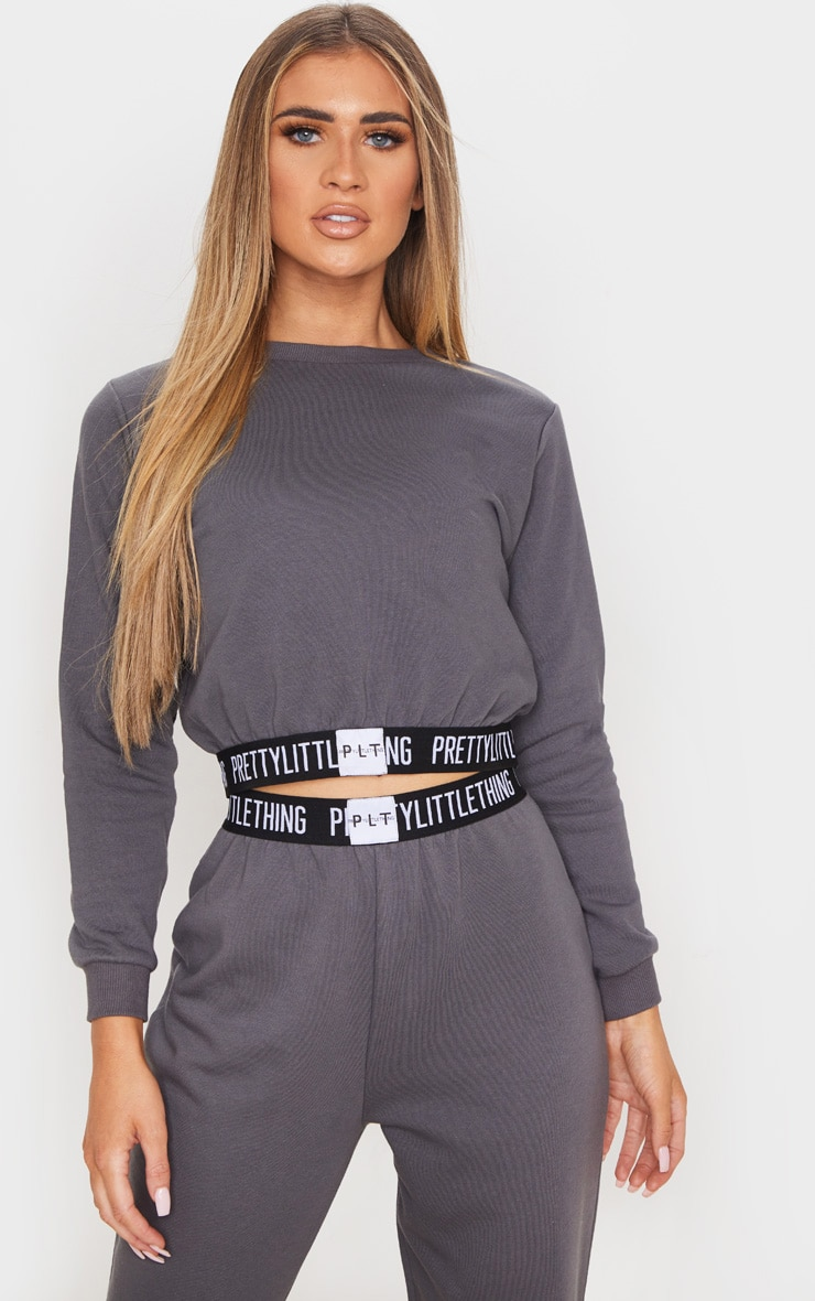 PRETTYLITTLETHING Charcoal Grey Lounge Sweater 1
