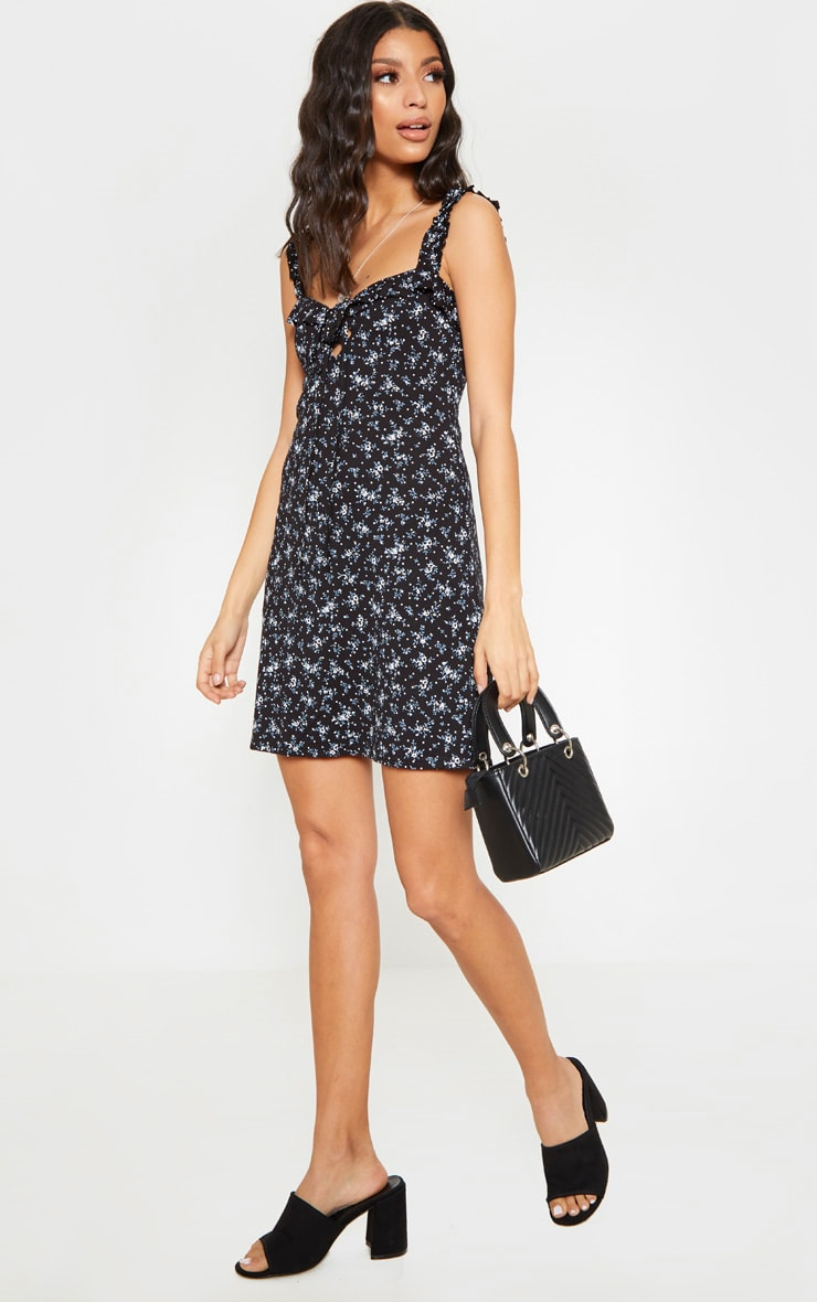 Black Floral Print Frill Detail Shift Dress 4