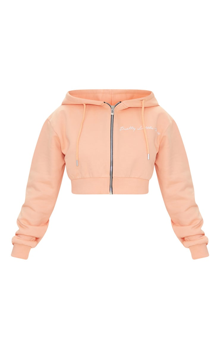 PRETTYLITTLETHING Petite Peach Cropped Embroidered Zip Hoodie 5