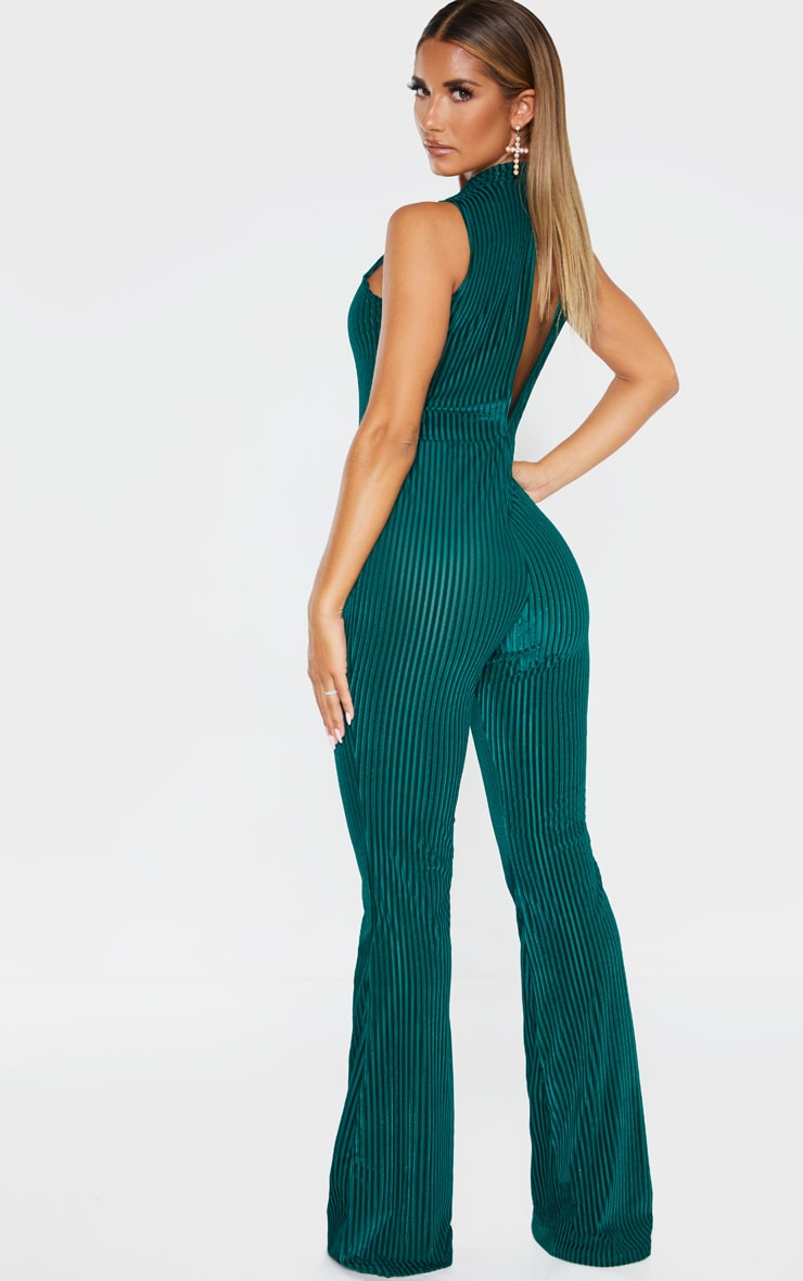 Emerald Green High Neck Striped Velvet Jumpsuit 2