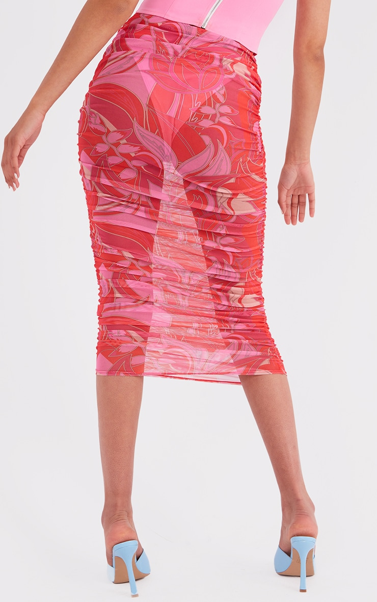 Tall Pink Floral Print Mesh Ruched Midaxi Skirt 3