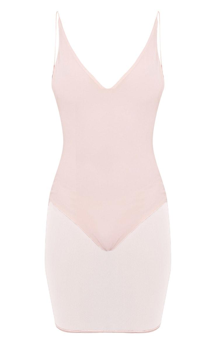 Kyiah Nude Mesh Overlay Bodycon Dress 3