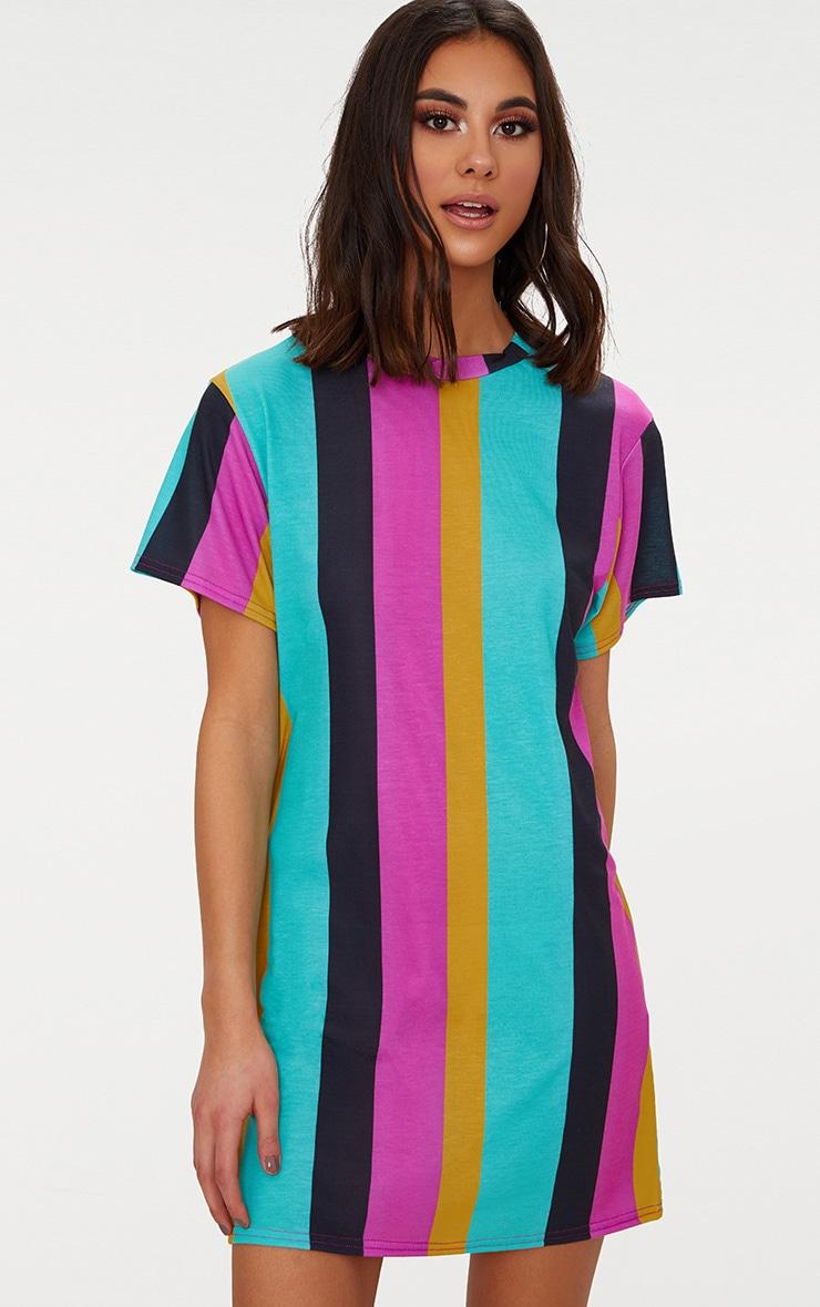 Pink Stripe T Shirt Dress 1