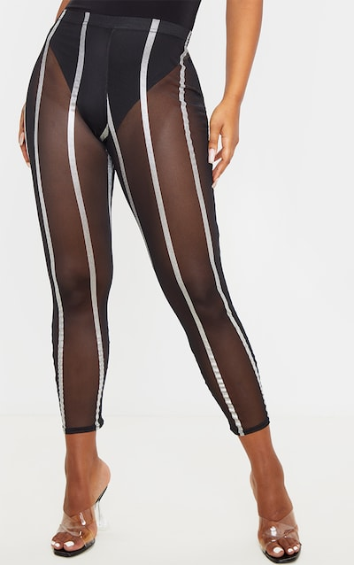 Silver Metallic Mesh Stripe Legging