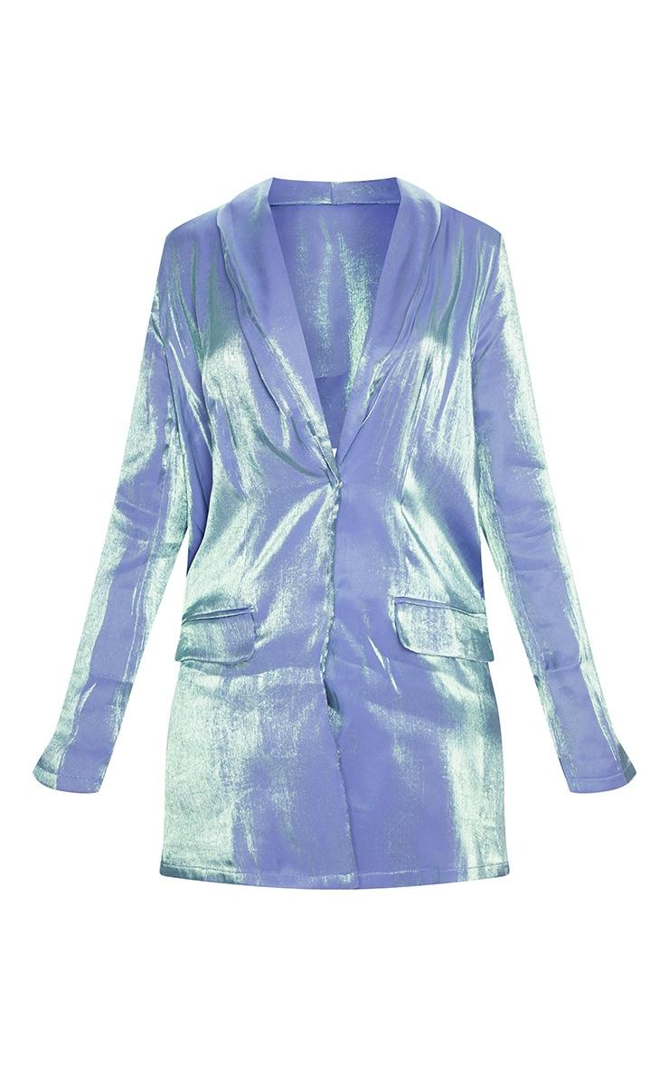 Robe blazer bleue irisée à manches longues 5