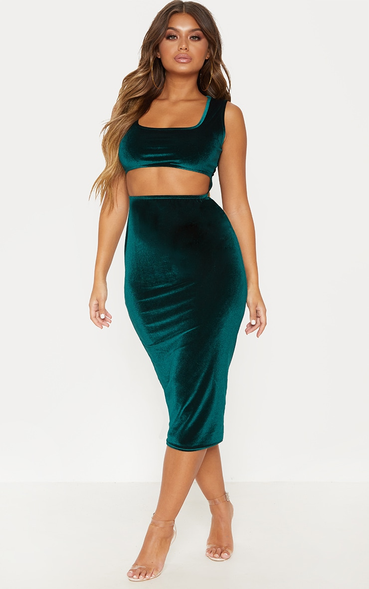 Emerald Green Velvet Cut Out Midaxi Dress 4