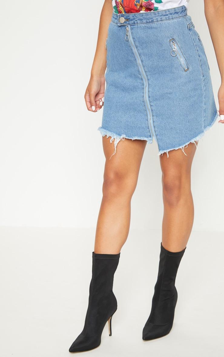 Mid Wash Zip Detail Mini Skirt 2