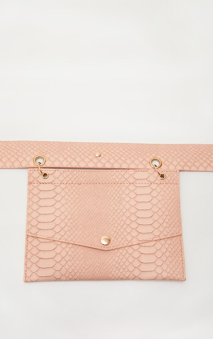 Nude Croc Envelope Belted Bum Bag 2