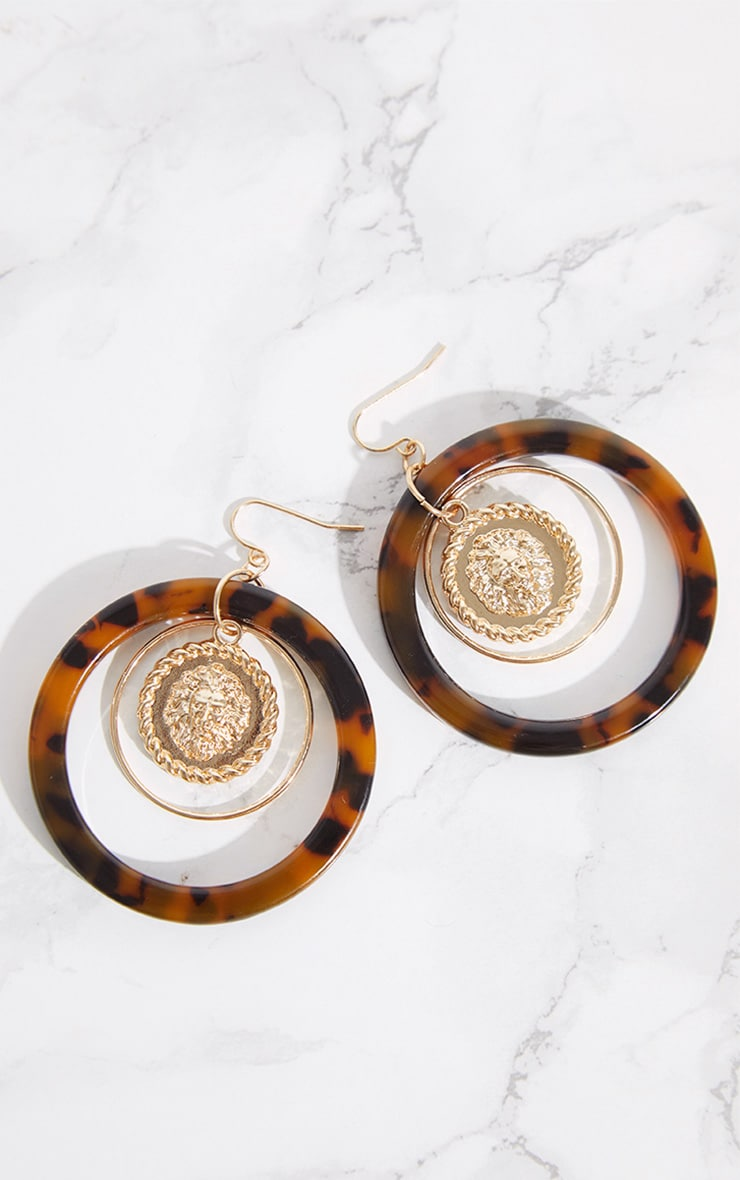 Tortoiseshell Coin Hoop Drop Earrings 3