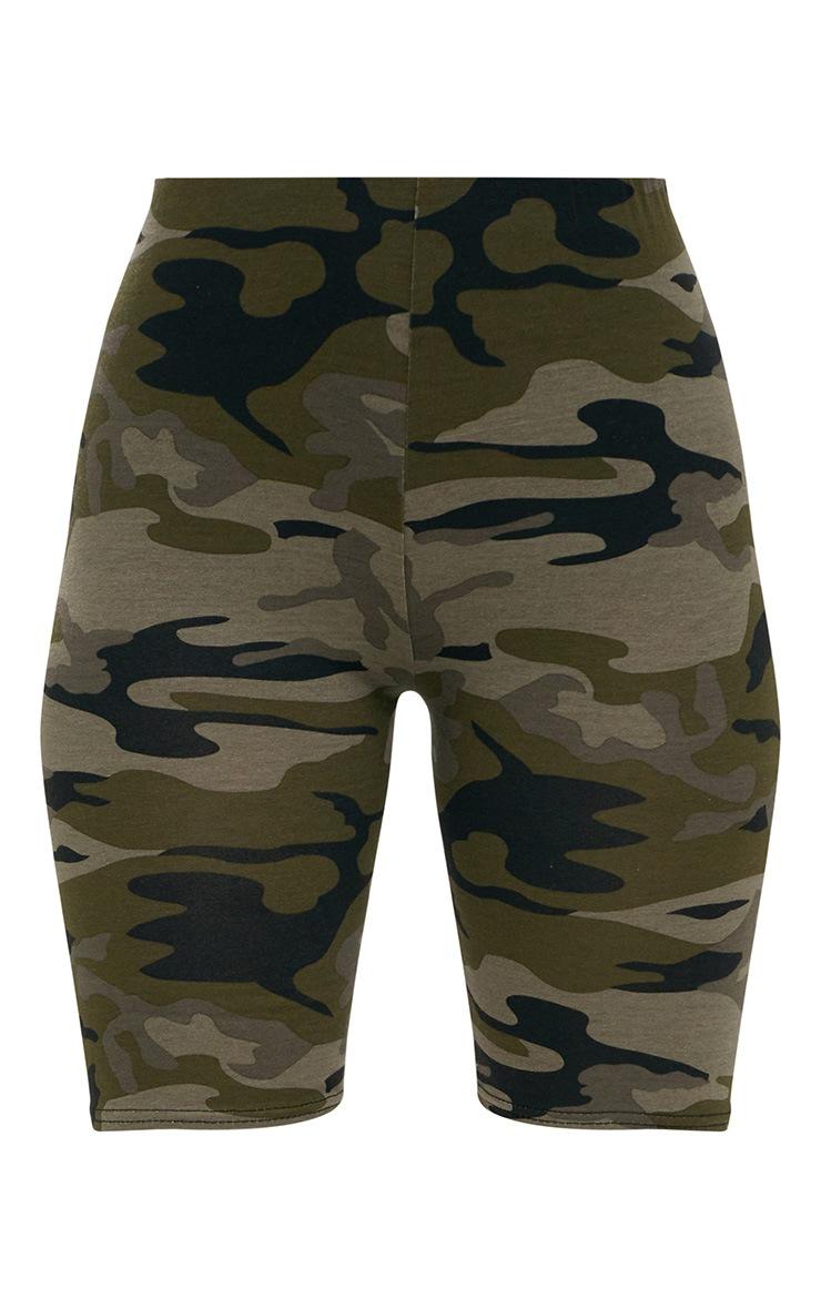 Short cycliste kaki imprimé camouflage 3