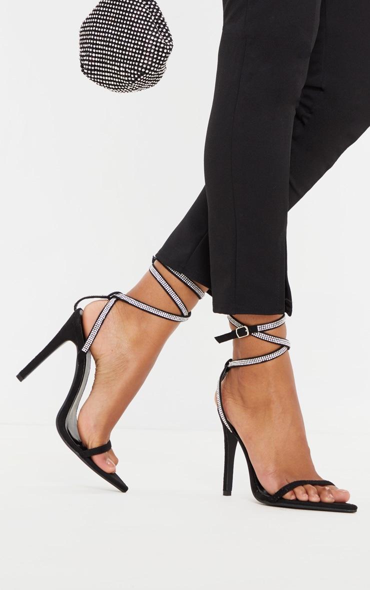 Black Point Toe Diamante Ankle Strap Sandal 1