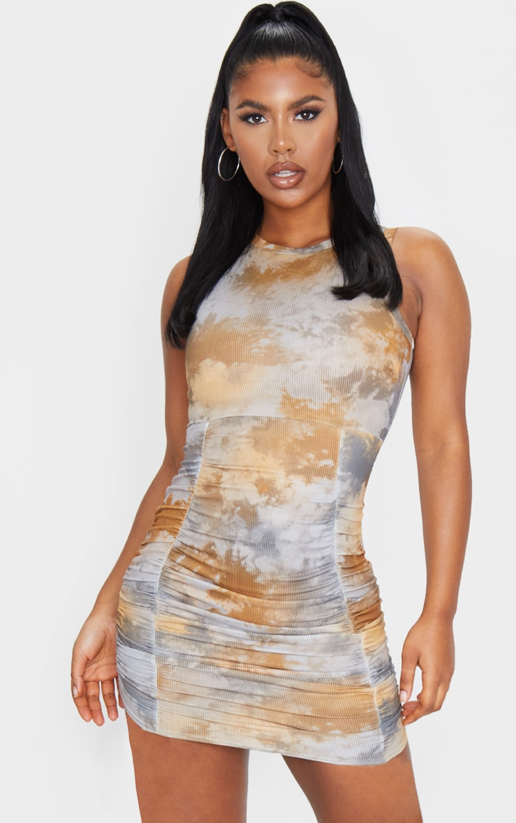 Multi Ribbed Tie Dye Ruched Sleeveless Bodycon Dress 1