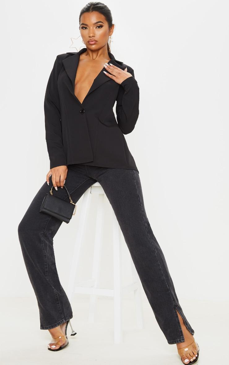 Black Woven Tie Back Bow Detail Blazer 4