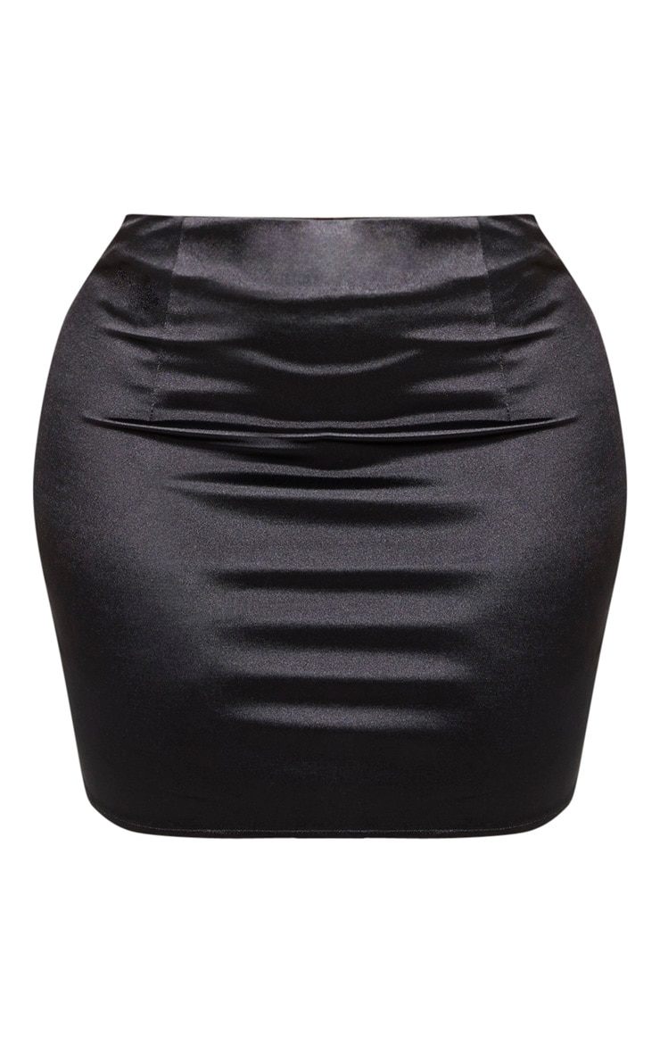 Shape Black Stretch Satin Bodycon Skirt 3