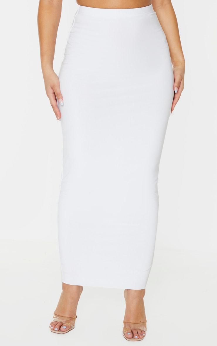Longue jupe blanche slinky à taille haute 2