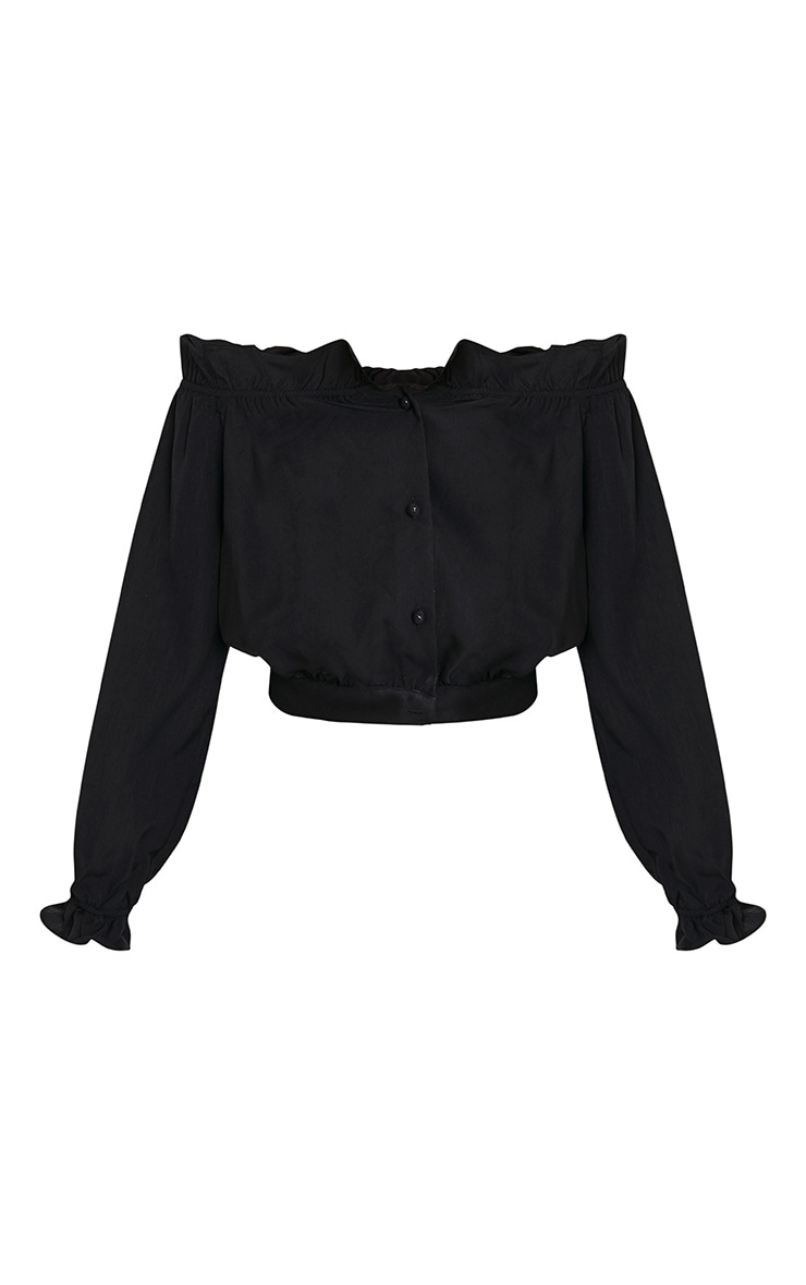 Ivy Black Frill Bardot Button Front Blouse 3