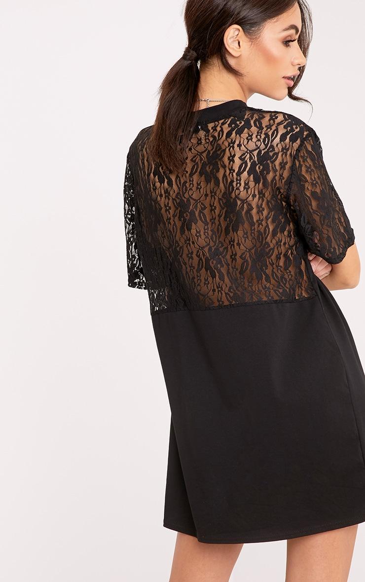 Alessa Black Lace Detail Plunge T-Shirt Dress 2