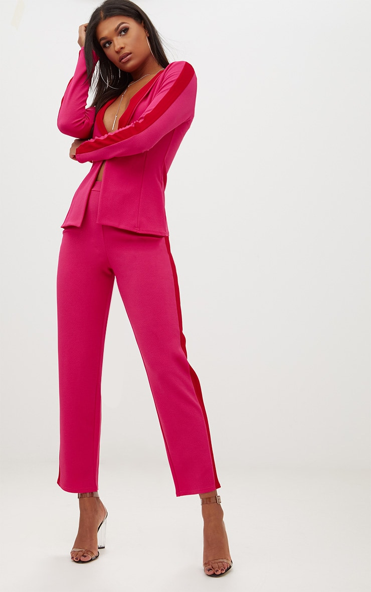 Hot Pink Contrast Panel Blazer 4