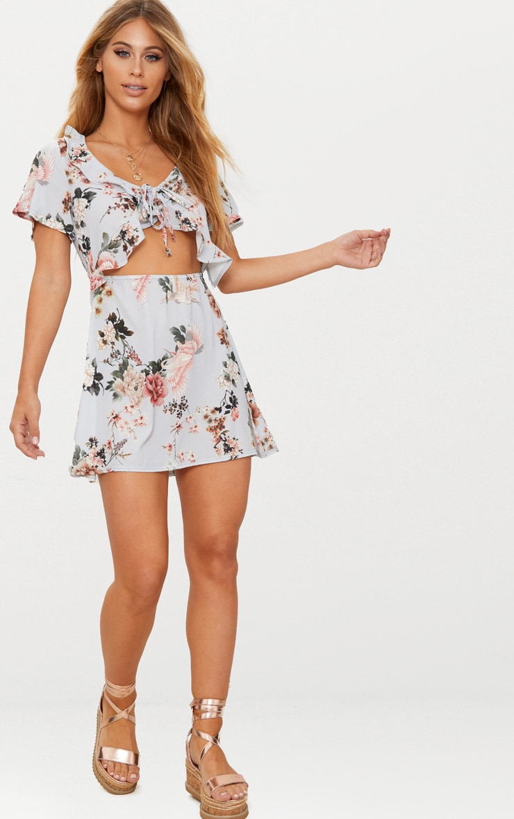 Grey Floral Print Frill Detail Tea Dress 4