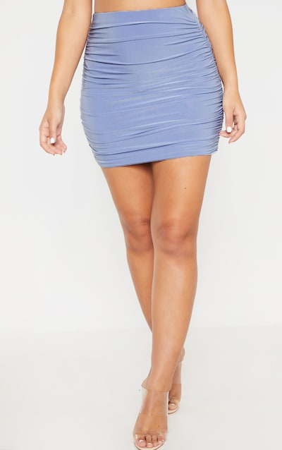 Baby Blue Slinky Ruched Mini Skirt
