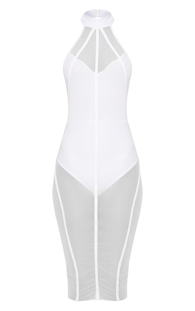White High Neck Binded Detail Mesh Midi Dress 3