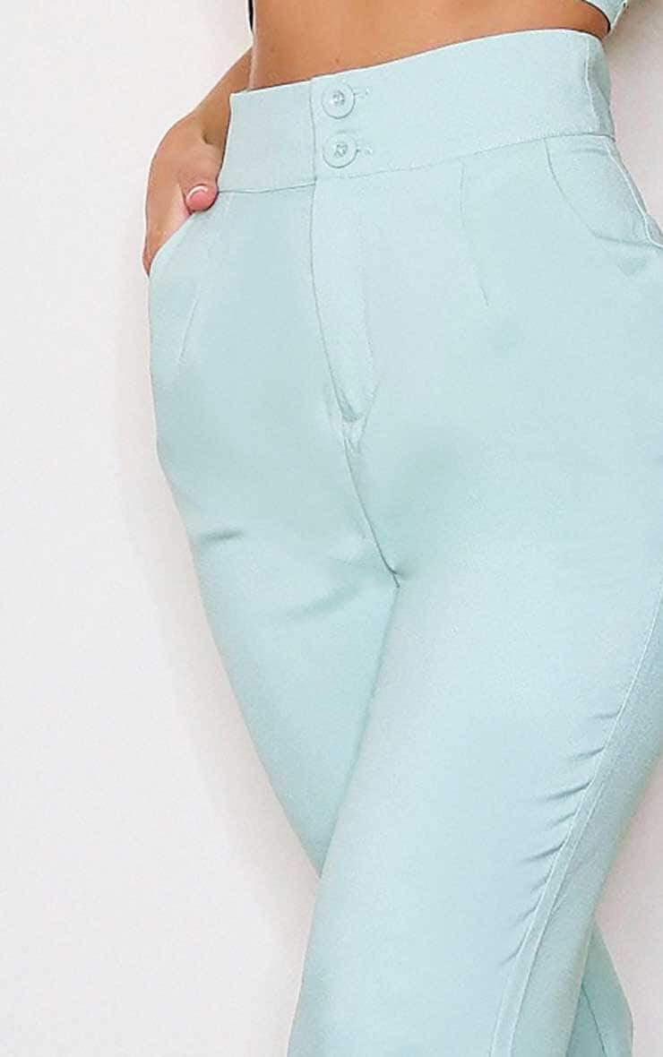 Sage Green High Waisted Double Button Waist Flare 5