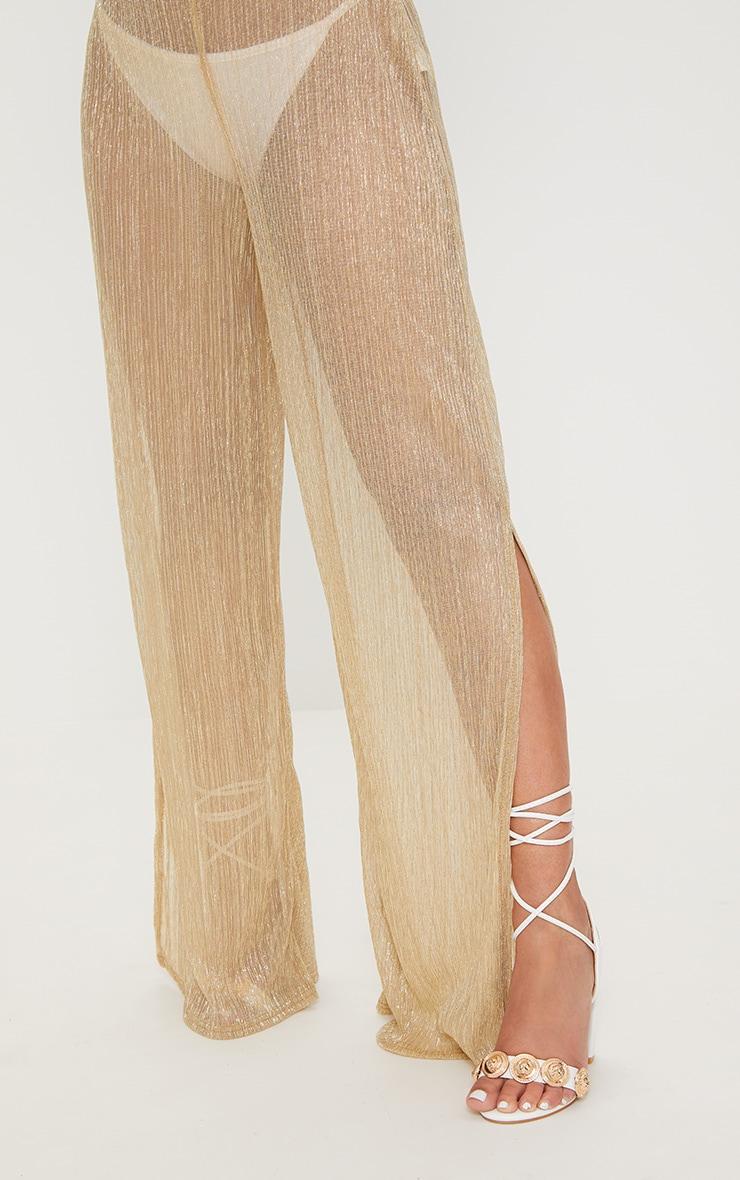 Petite Gold Metallic Sheer Wide Leg Trousers 5