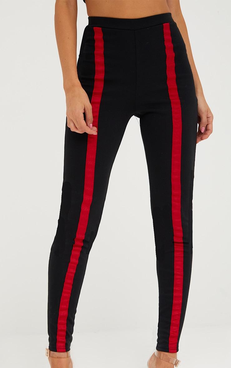 Black Contrast Stripe Track Leggings 5