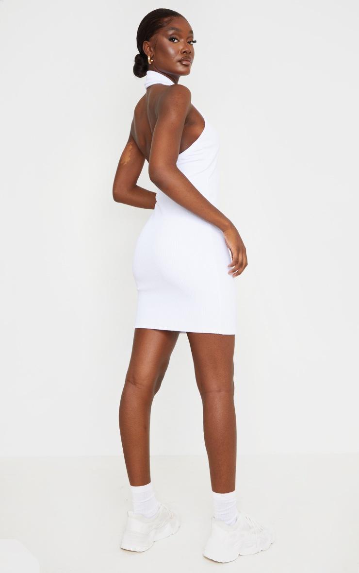 Tall White Rib Halterneck Button Detail Bodycon Dress 2