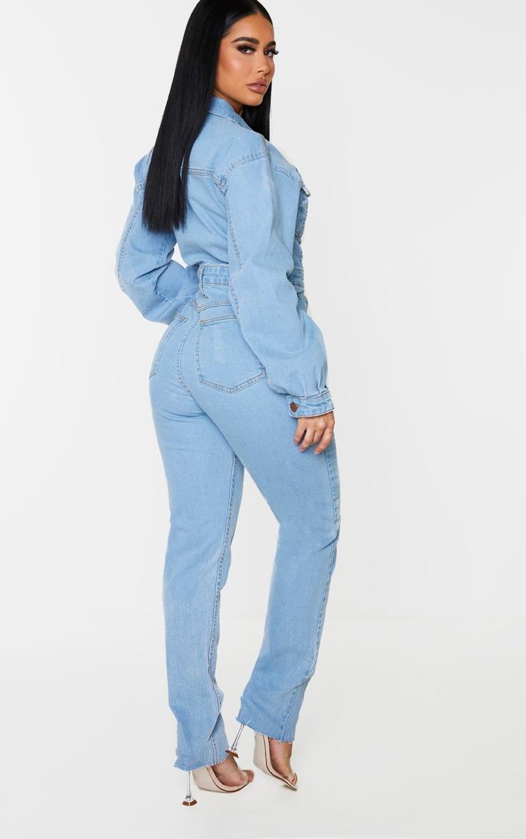 Shape Vintage Wash Denim Zip Front Jumpsuit 2