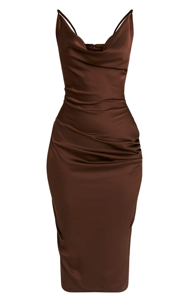 Jaydia Brown Silky Cowl Neck Midi Dress 3