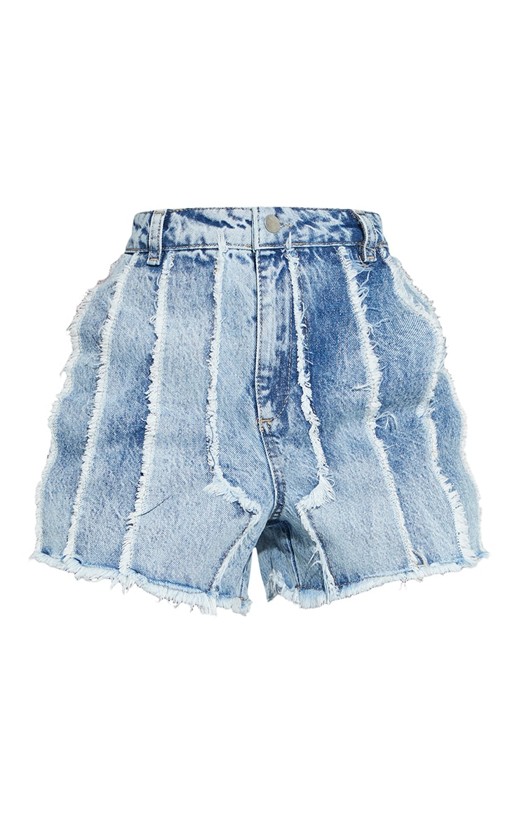 Light Blue Wash Frayed Denim Shorts 6
